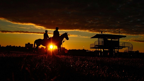 Horses and riders during a trackwork session at Flemington Racecourse in Melbourne, Australia