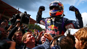 Daniel Ricciardo of Red Bull Racing celebrates in Parc Ferme after winning the Belgian Grand Prix at Circuit de Spa-Francorchamps