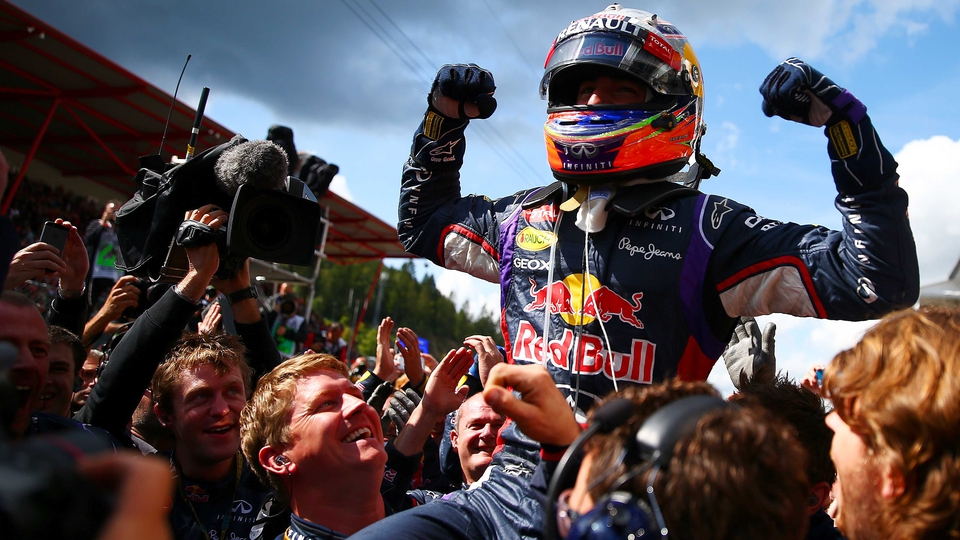 Daniel Ricciardo of Red Bull Racing celebrates in Parc Ferme after winning the Belgian Grand Prix at Circuit de Spa-Francorchamps
