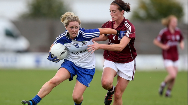 Ciara McEnespie of Monaghan with Emer Flaherty of Galway