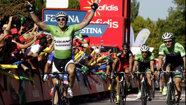 John Degenkolb celebrates his stage win