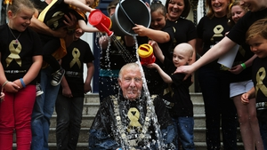 Lord Mayor of Dublin Christy Burke takes part in the ice bucket challenge