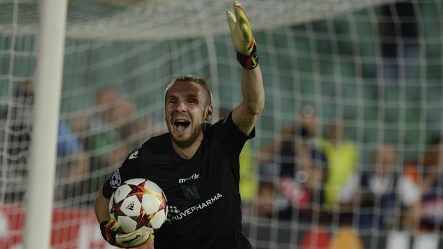 Ludogorets Razgrad's stand-in goalkeeper Cosmin Moti celebrates