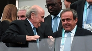 FIFA President Joseph Blatter (L)  and UEFA President Michel Platini at the World Cup