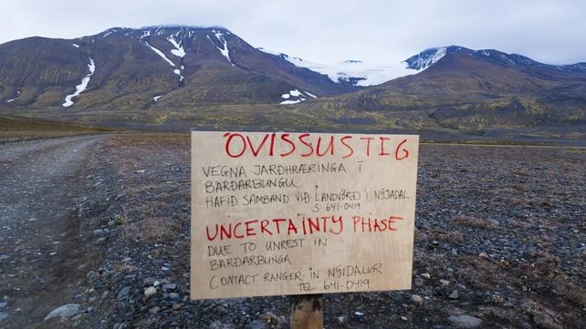 A road closure at the Vattnajokull glacier near the Bardarbunga volcano