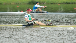 Paul O'Donovan rows in the semi-finals on Thursday