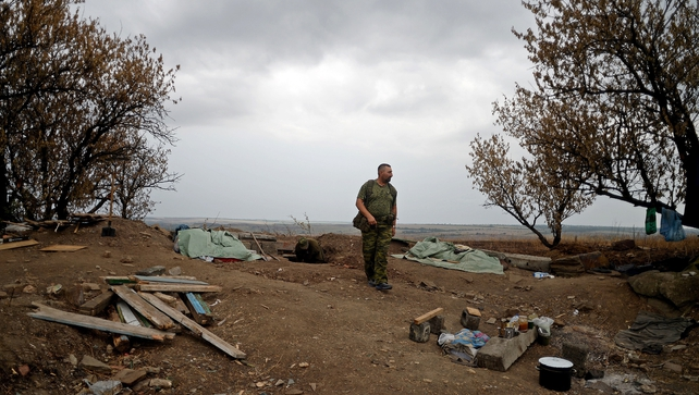 A Pro-Russian fighter in Troitsko-Khartsyzk, 30km east of Donetsk
