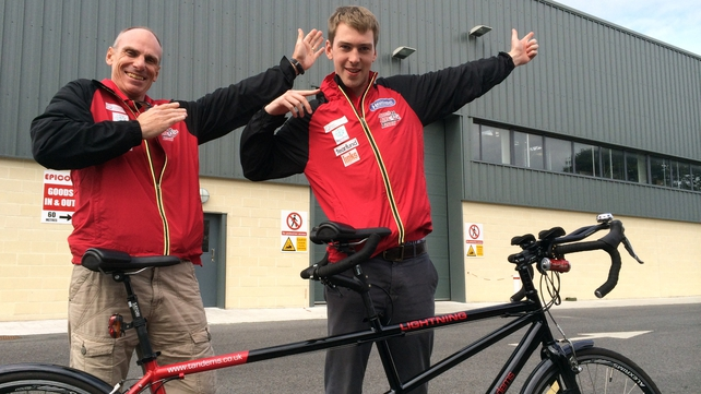 Father and son Norman and James Beech from Cumbria, England are aiming to complete the 2200km race on a tandem bicycle