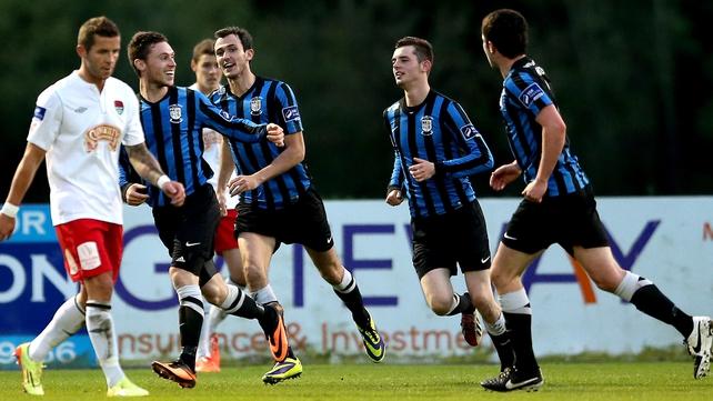 Athlone's John Mulroy celebrates scoring his sides first goal