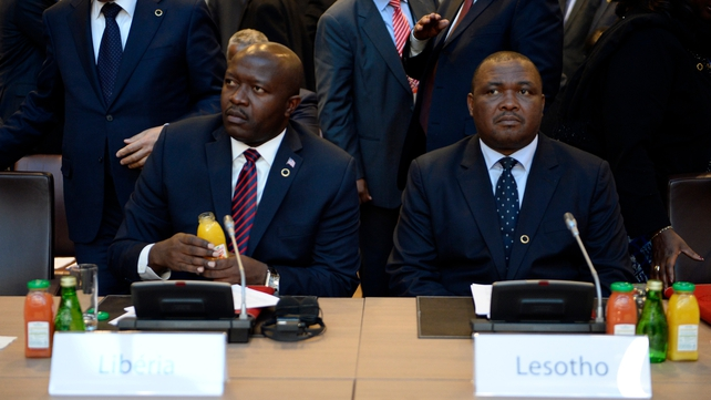 Lesotho's vice-president Mothetjoa Metsing (R) is accused of involvement in the move to seize power