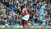 Mame Biram Diouf scores the only goal of the game at the Etihad Stadium