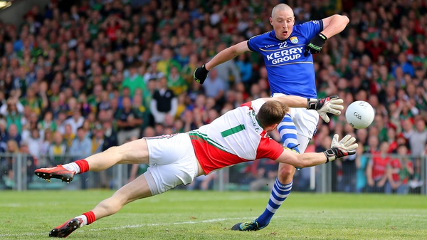 Kerry's Kieran Donaghy scores a goal past Mayo goalkeeper Robert Hennelly