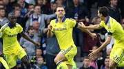 Chelsea's Branislav Ivanovic celebrates scoring his team's second goal at Goodison Park
