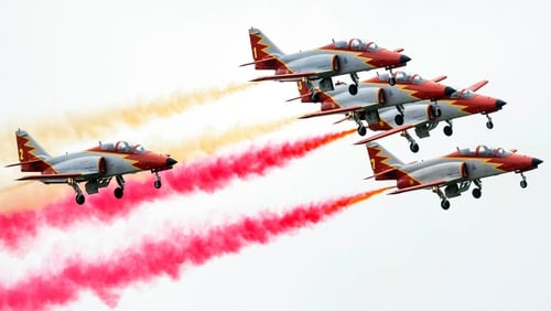 Aviojets of Spanish squad Patrulla Aguila Casa fly in formation at the AIR14 air show in Payerne, Switzerland