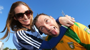 A Dublin fan gets to grips with a Donegal counterpart but the roles were reversed during the game