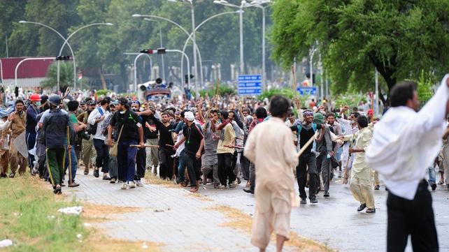 Protests against Mr Sharif began last month