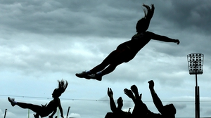 The University of Central Florida cheerleaders take to the air in Croke Park