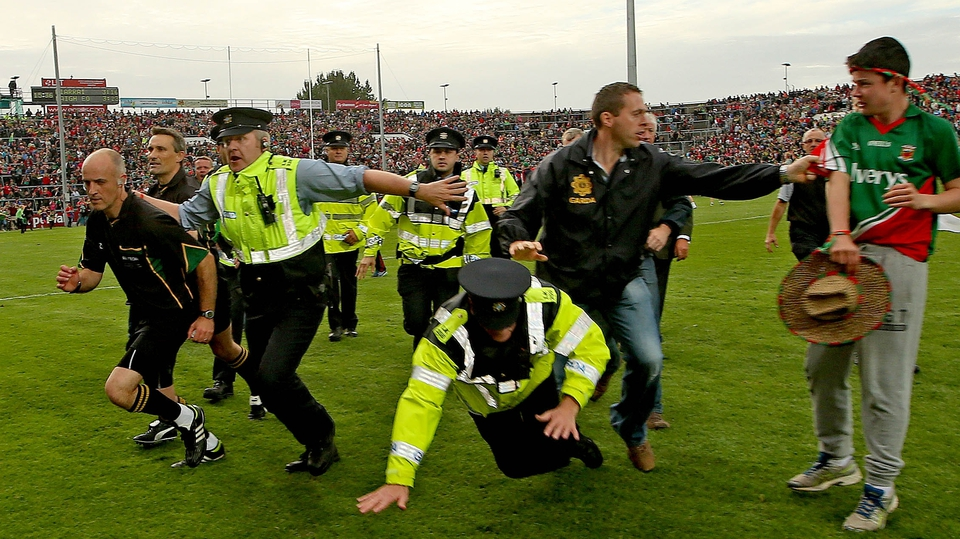 Referee Cormac Reilly was forced to make a quick exit after the final whistle