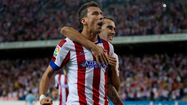 Mario Mandzukic headed home Atletico Madrid's fourth goal at the Vicente Calderon Stadium