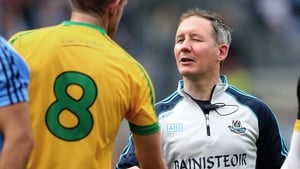 Dublin's manager Jim Gavin shakes hands with Neil Gallagher of Donegal after the game