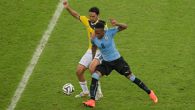 Uruguay striker Abel Hernandez in action against Colombia at the World Cup