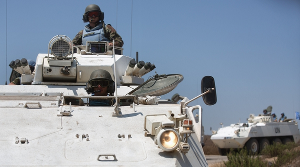 Irish troops with the UN mission on the Golan Heights on patrol near the Syrian border