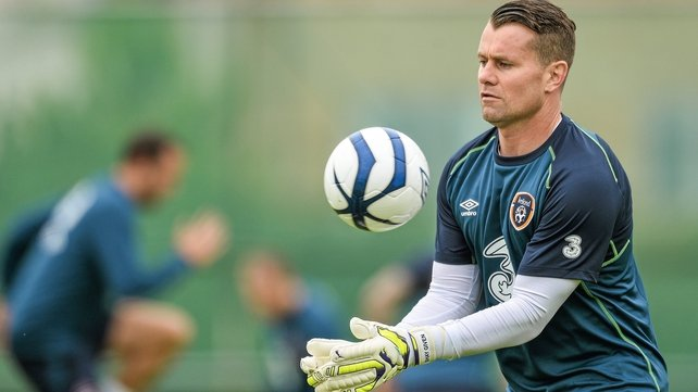 Shay Given training with the Ireland squad in Malahide today