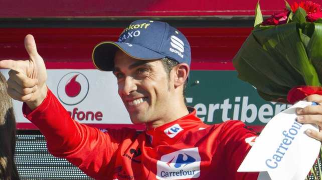 Tinkoff's Spanish cyclist Alberto Contador now leads