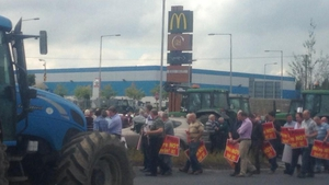 Beef farmers have staged a blockade at a McDonald's fast food restaurant in Kilkenny