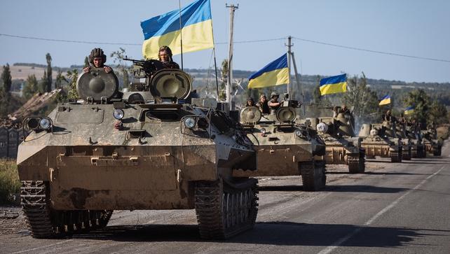 Ukrainian soldiers on the outskirts of the eastern Ukrainian city Slaviansk