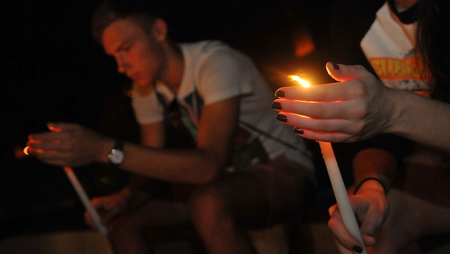 University of Central Florida students hold a candle light vigil  for journalist Stephen Sotloff
