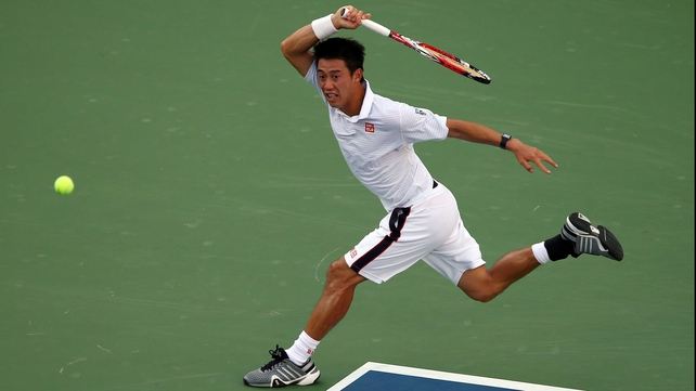 Kei Nishikori unleashes a forehand winner on the run at Flushing Meadows