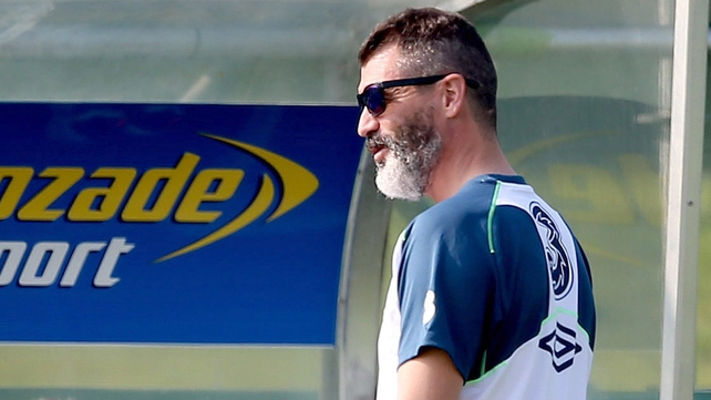 Roy Keane looks on at training in Malahide