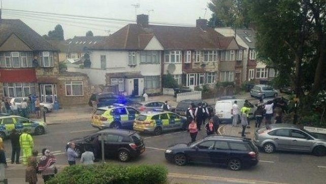The victim was found at an address in Nightingale Road, Edmonton, north London (pic: @RamiAlLolah)