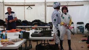 Steven Crawford and Steven Clements in the makeshift weighing room