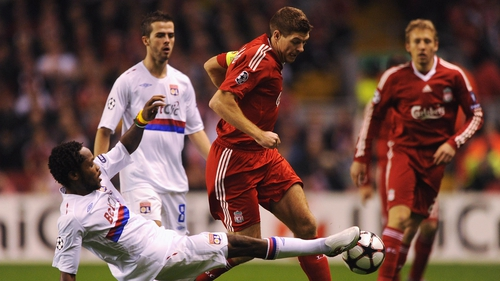 Steven Gerrard in action against Lyon during Liverpool's last Champions League campaign in 2009/10