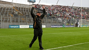 Brian Cody, who has now guided Kilkenny to a remarkable 13th appearance in an All-Ireland final, celebrates after the win over Limerick