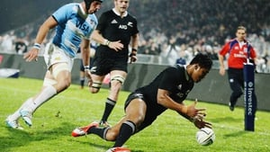 Julian Savea dives over to score a try during the game