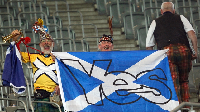 Scottish football fans show their support for independence at the Germany-Scotland Euro 2016 qualifier in Dortmund