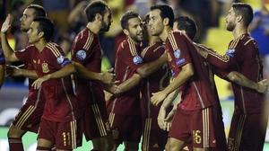 Sergio Ramos (right) celebrates his goal against Macedonia