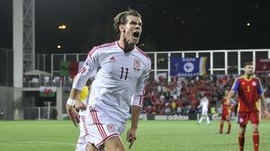 Gareth Bale celebrates after scoring his first-half equaliser