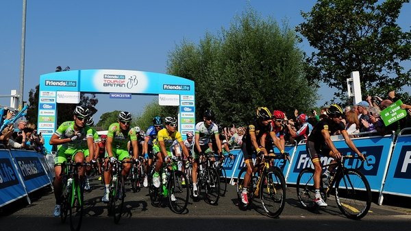 The peloton leave the start of stage four of the 2014 Tour of Britain from Worcester to Bristol