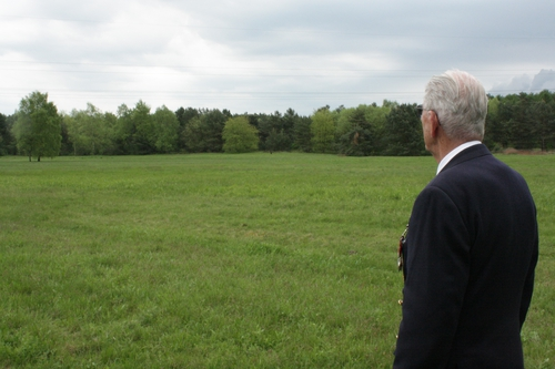 Harry Callan at the site of the mass grave near Farge