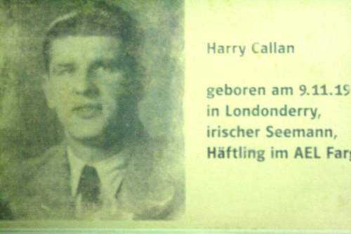Harry Callan's photo from the 1950's used in the display inside Bunker Valentin exhibition