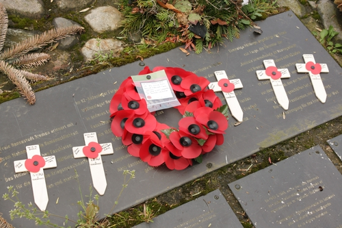 Wreath and crosses at Bunker Valentin laid in memory of Harry's 31 Irish comrades