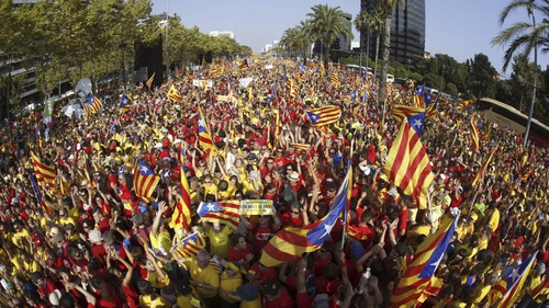 People attend a rally to support the referendum on Catalonia's independence