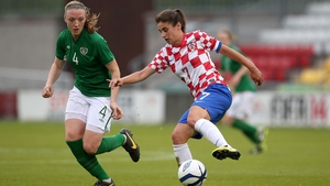 Louise Quinn (l) in action against Croatia in June