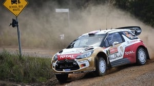 Northern Ireland's Kris Meeke slides through a corner. Meeke lies in fourth spot after day two