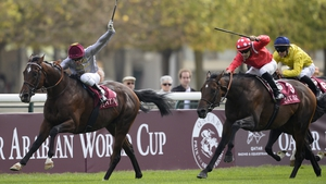Ectot (left) overcame a long absence to stretch his winning sequence to seven when winning the Prix Niel