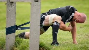 Paul O'Connell in training on Monday - the Munster talisman could get game-time against Zebre